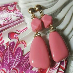 Pink Polygon Rocky Bead Dangle Earrings